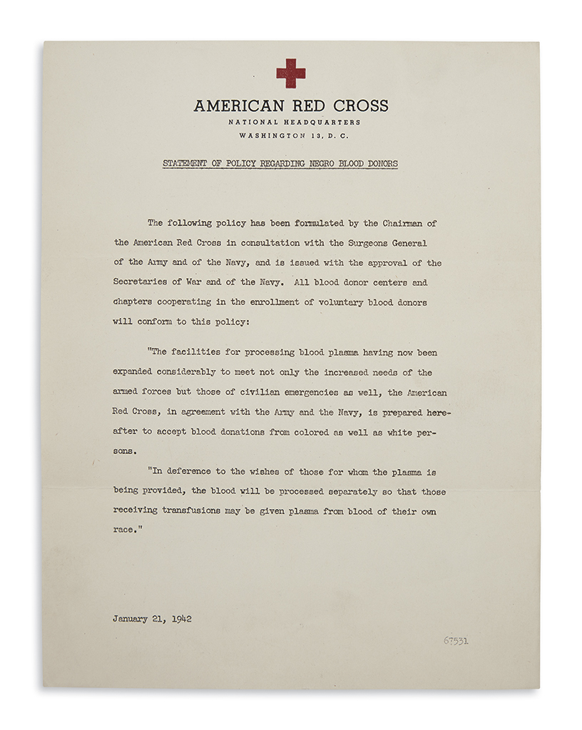 (MILITARY--WORLD WAR TWO.) American Red Cross. Statement of Policy Regarding Negro Blood Donors.