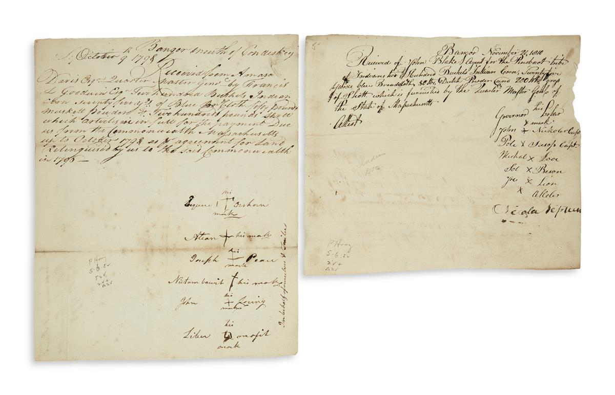 (AMERICAN-INDIANS)-Pair-of-receipts-signed-by-members-of-the
