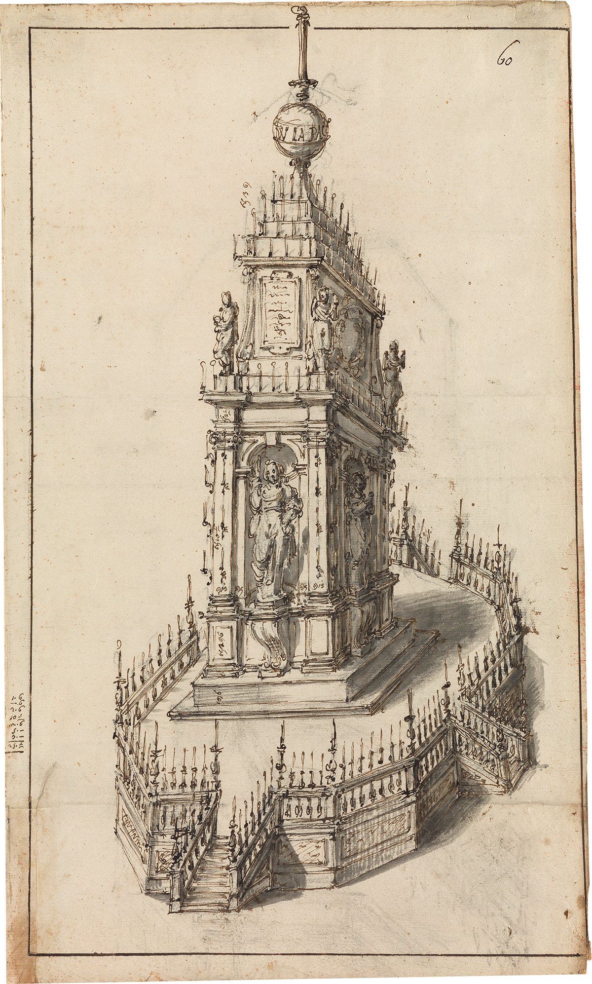 LOMBARD-SCHOOL-16TH-CENTURY-A-Design-for-a-Catafalque-and-Fl