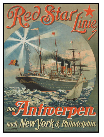 C. SATZMANN (DATES UNKNOWN). RED STAR LINE / VON ANTWERPEN NACH NEW YORK. 1893. 37x26 inches, 94x67 cm. Gebr. Klingenberg, Dortmund.