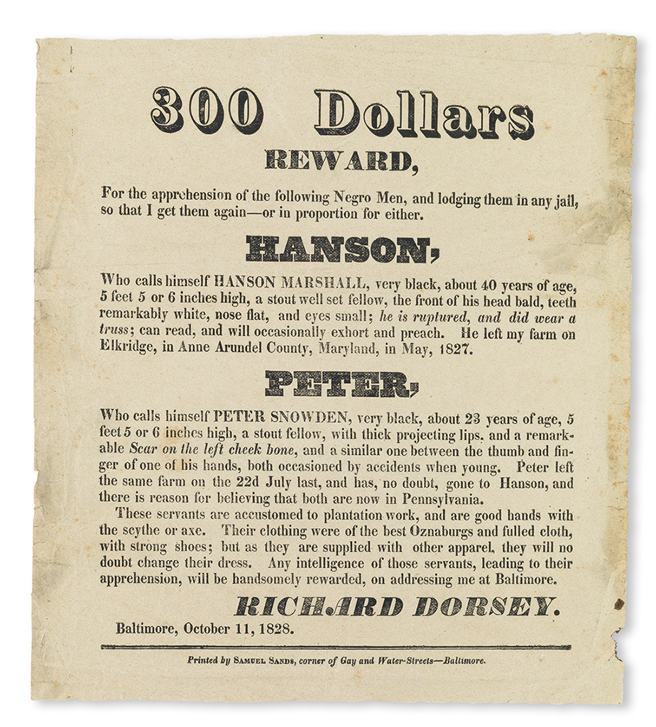(SLAVERY AND ABOLITION.) MARYLAND. 300 Dollars Reward . . . for the apprehension of the following Negro Men, and lodging them in any ja