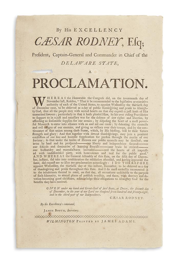 (AMERICAN REVOLUTION--1778.) Rodney, Caesar. Broadside proclamation of Thanksgiving in Delaware.