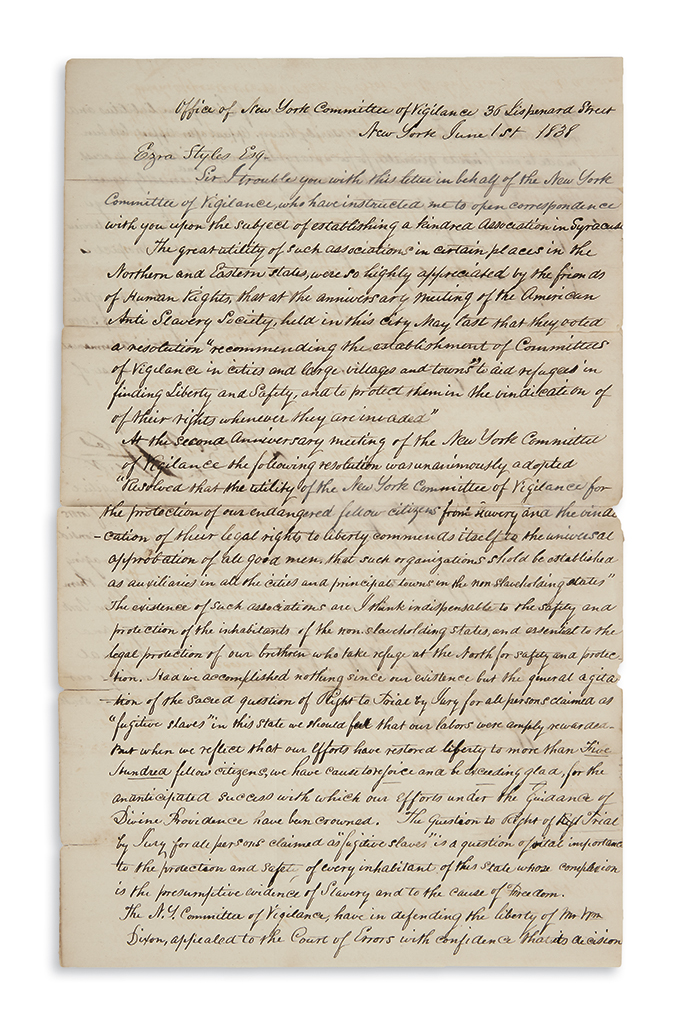 (SLAVERY AND ABOLITION.) Ruggles, David. Letter urging the establishment of a Committee of Vigilance in Syracuse.