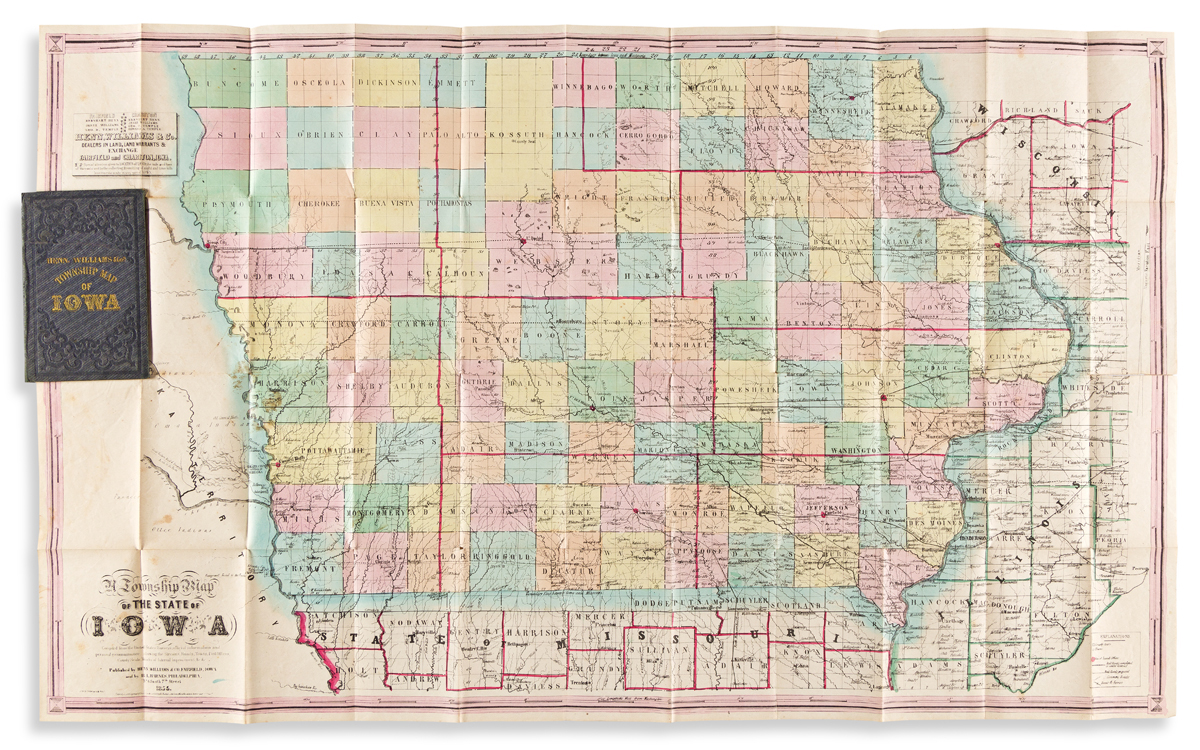 (IOWA.) Henn, Williams & Co.; and Rufus L. Barnes. A Township Map of the State of Iowa.