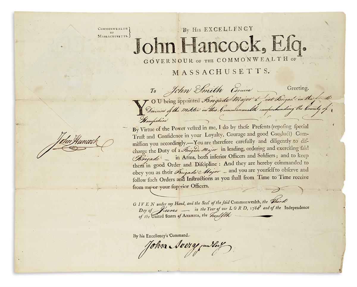 HANCOCK, JOHN. Partly-printed Document Signed, as Governor, appointing John Smith Brigade Major in the militia.