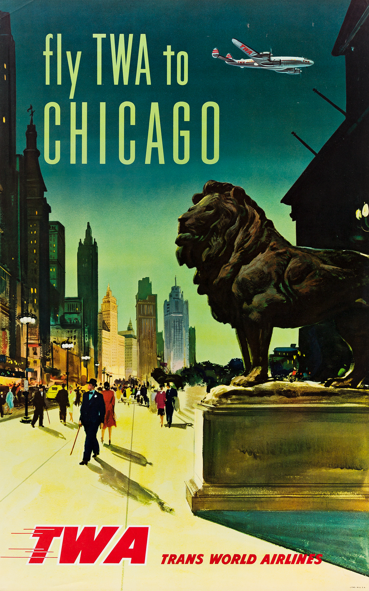 DESIGNER UNKNOWN. FLY TWA TO CHICAGO. 1957. 40x25 inches, 101x63 cm.