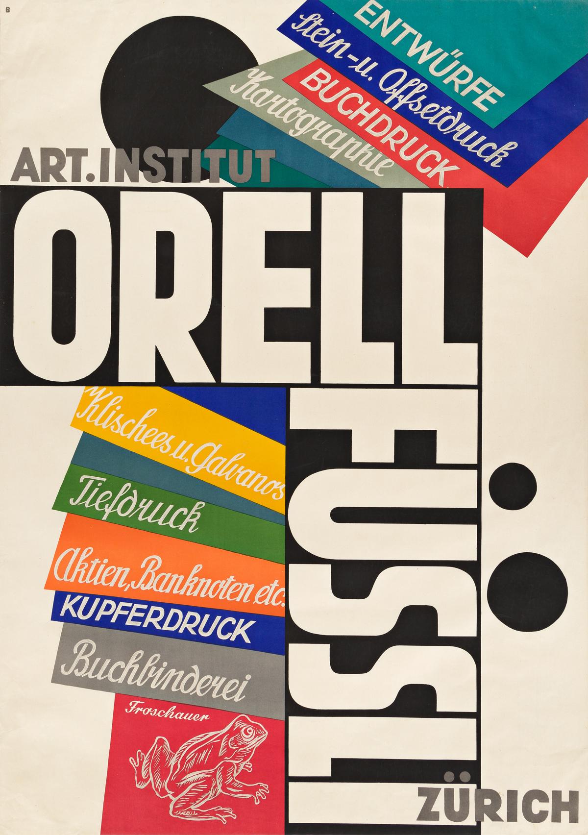 OTTO BAUMBERGER (1889-1961).  ART. INSTITUT / ORELL FÜSSLI. 1928. 50x35½ inches, 127x90¼ cm. Orell Füssli, Zurich.