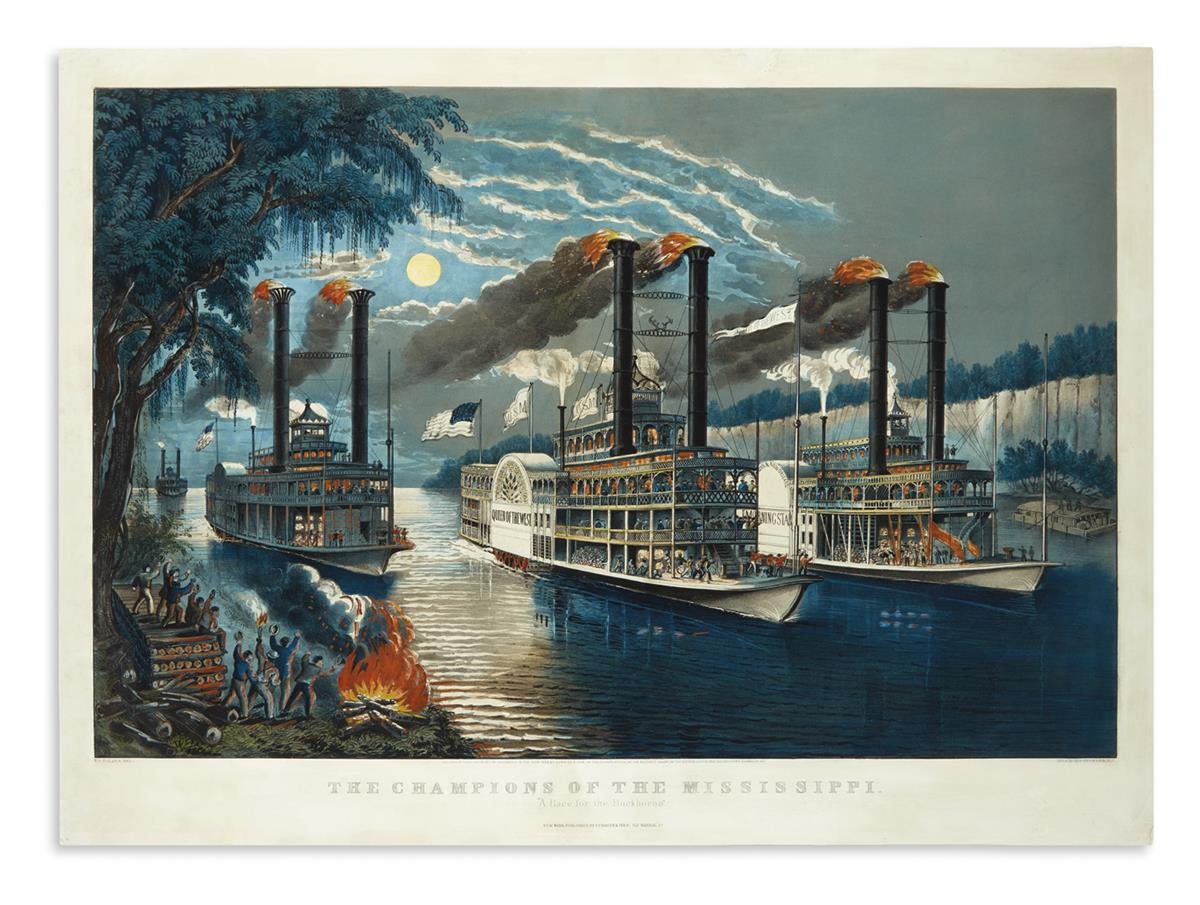 CURRIER--IVES-The-Champions-of-the-Mississippi-A-Race-for-th