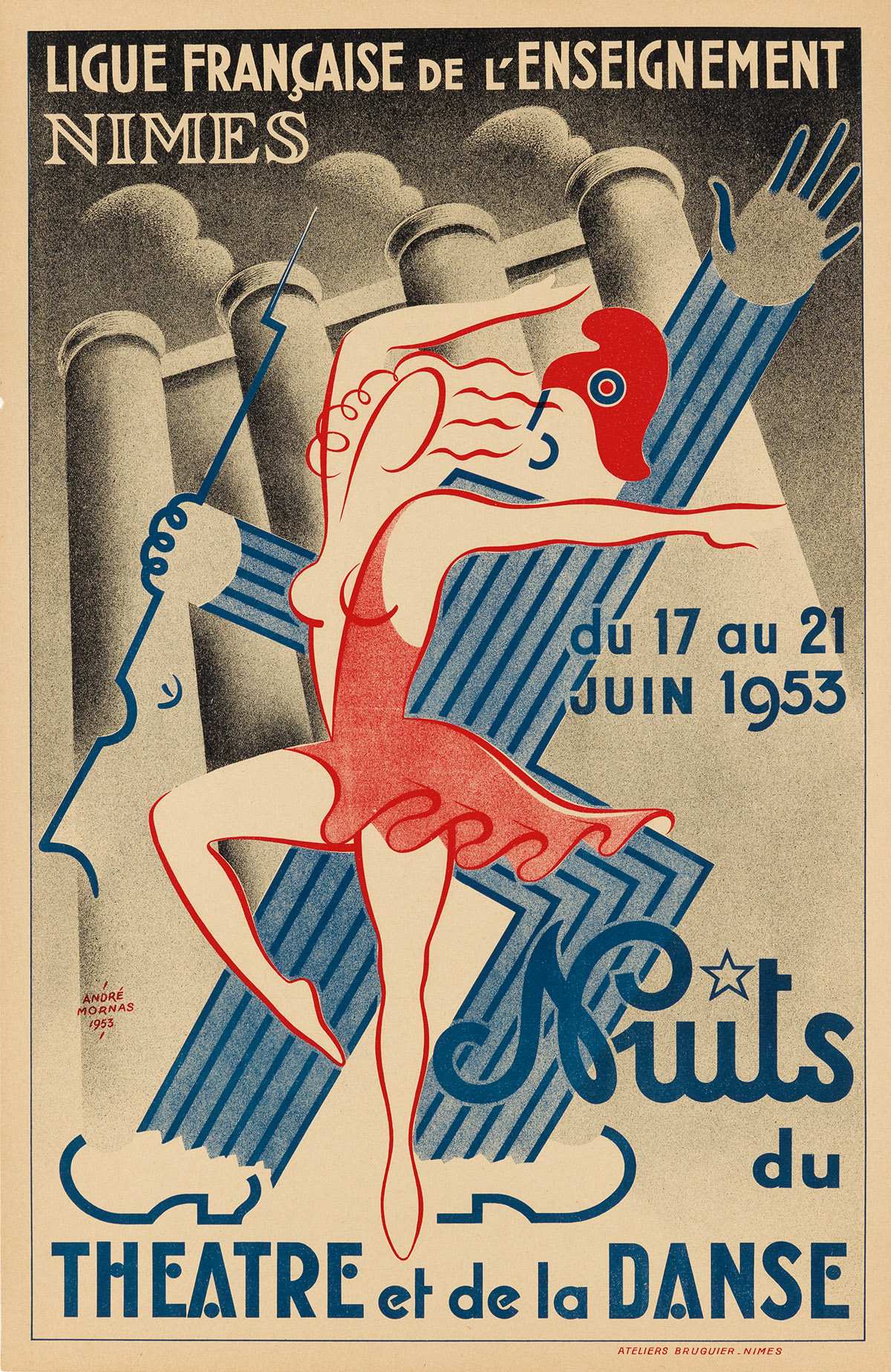 ANDRÉ MORNAS (DATES UNKNOWN). NUITS DU THEATRE ET DE LA DANSE. 1953. 23x15 inches, 58x38 cm. Ateliers Bruguier, Nimes.