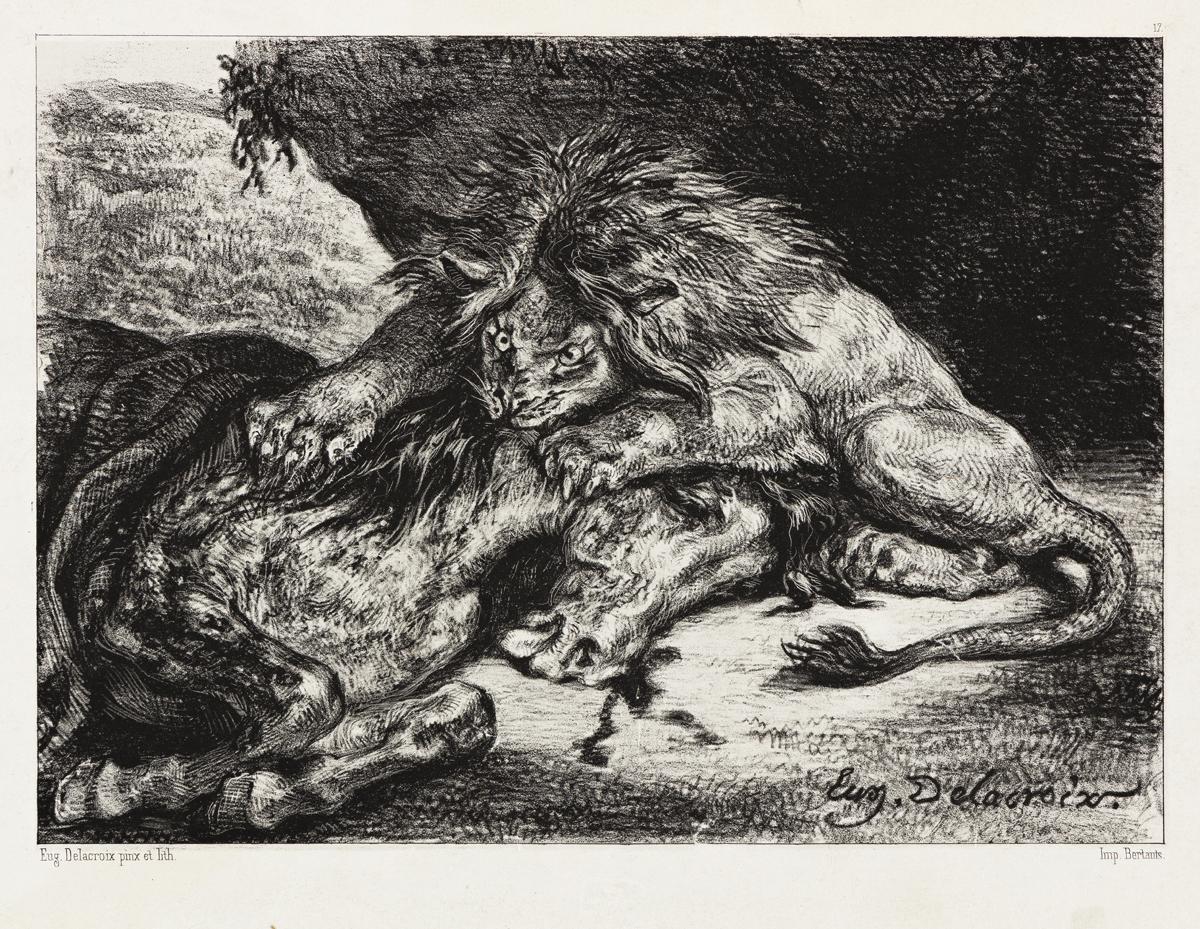 EUGÈNE DELACROIX Lion Dévorant un Cheval.
