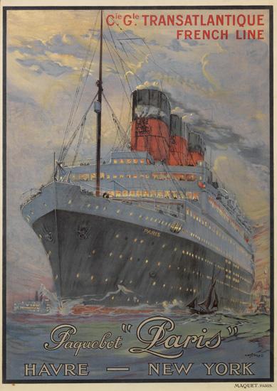 "ALBERT SEBILLE (1874-1953). CIE. GLE. TRANSATLANTIQUE / PAQUEBOT ""PARIS"". Circa 1925. 41x28 inches, 104x73 cm. Maquet, Paris."