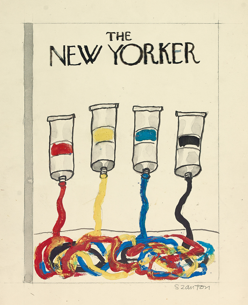 (THE NEW YORKER.) BEATRICE SZANTON. Two cover proposals for The New Yorker.