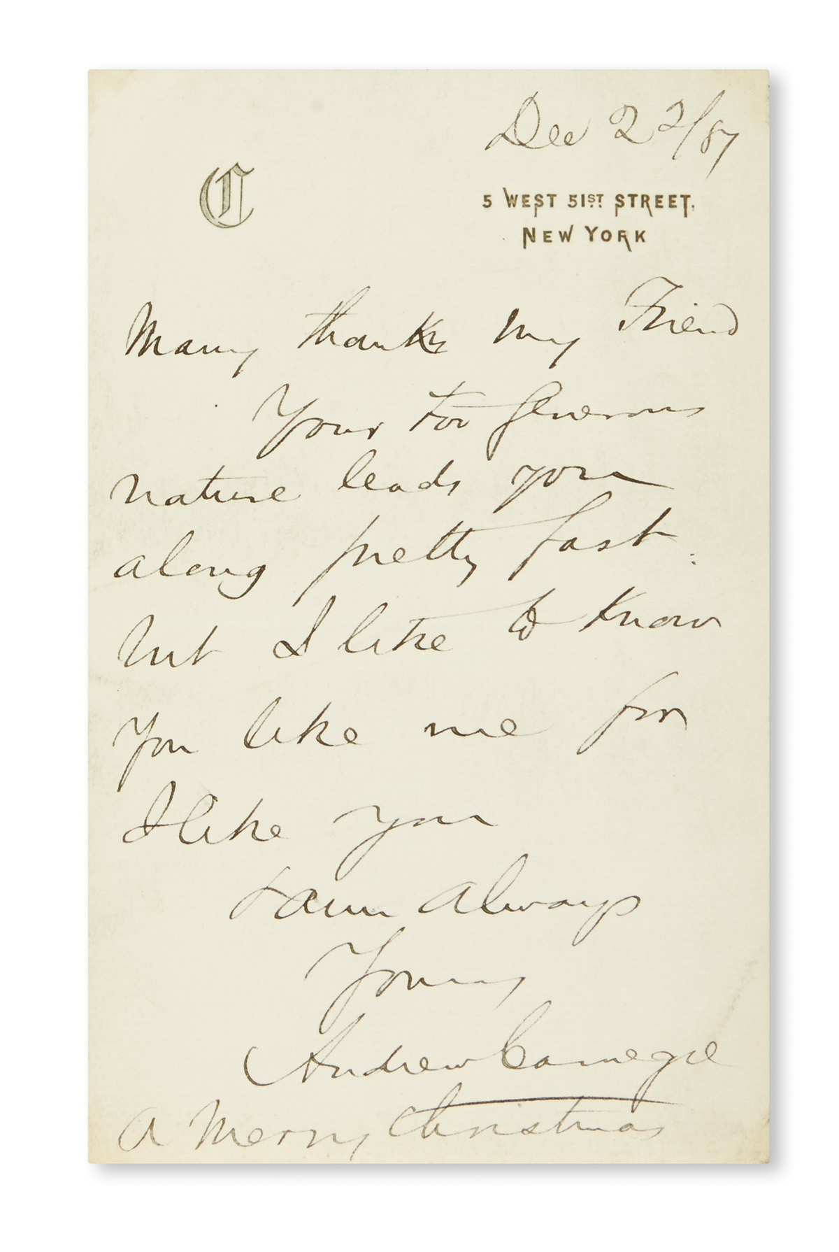 (BUSINESS)-CARNEGIE-ANDREW-Autograph-Letter-Signed-to-an-unn