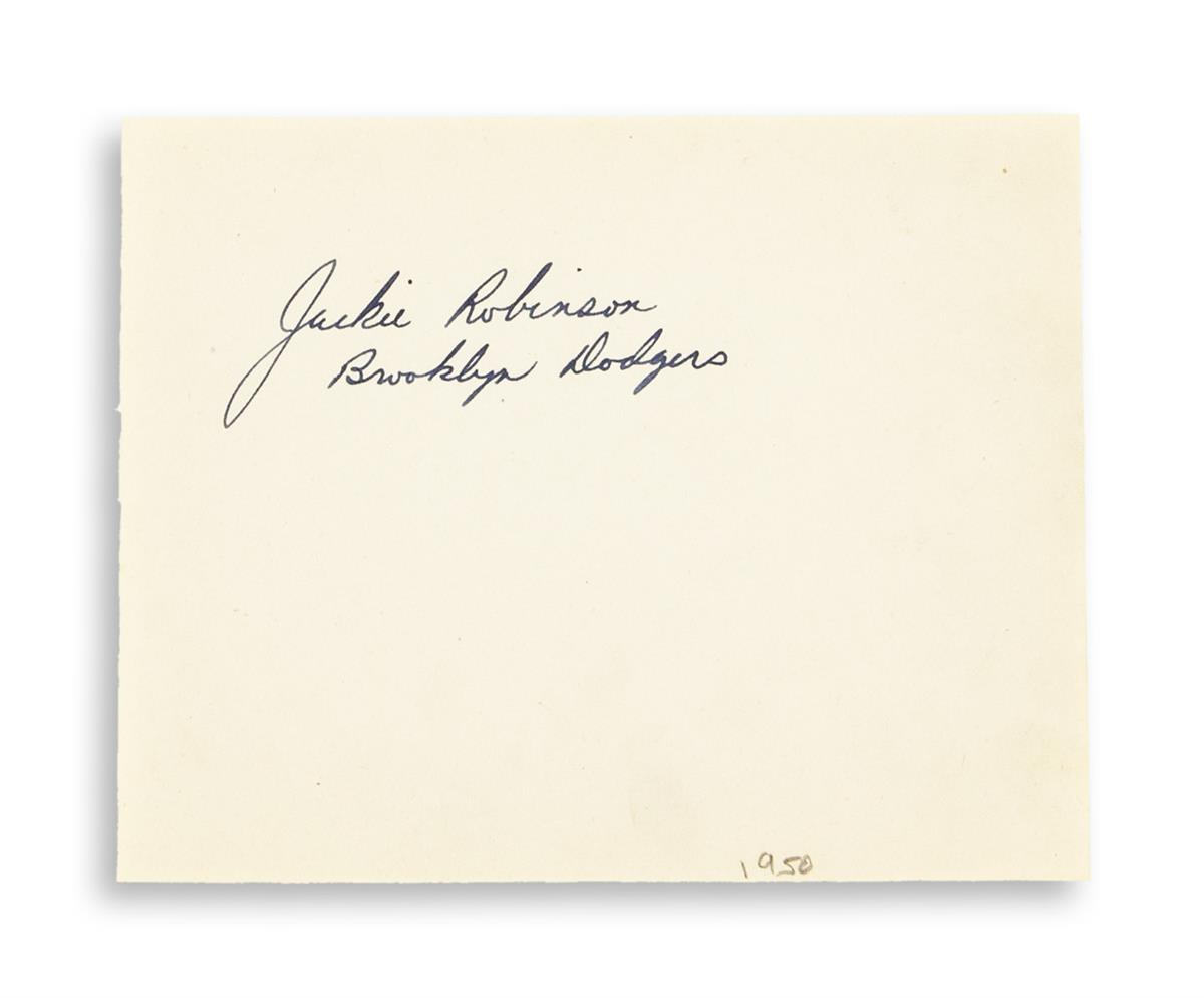 ROBINSON, JACKIE. Signature (Jackie Robinson / Brooklyn Dodgers), on a leaf removed form an autograph album.