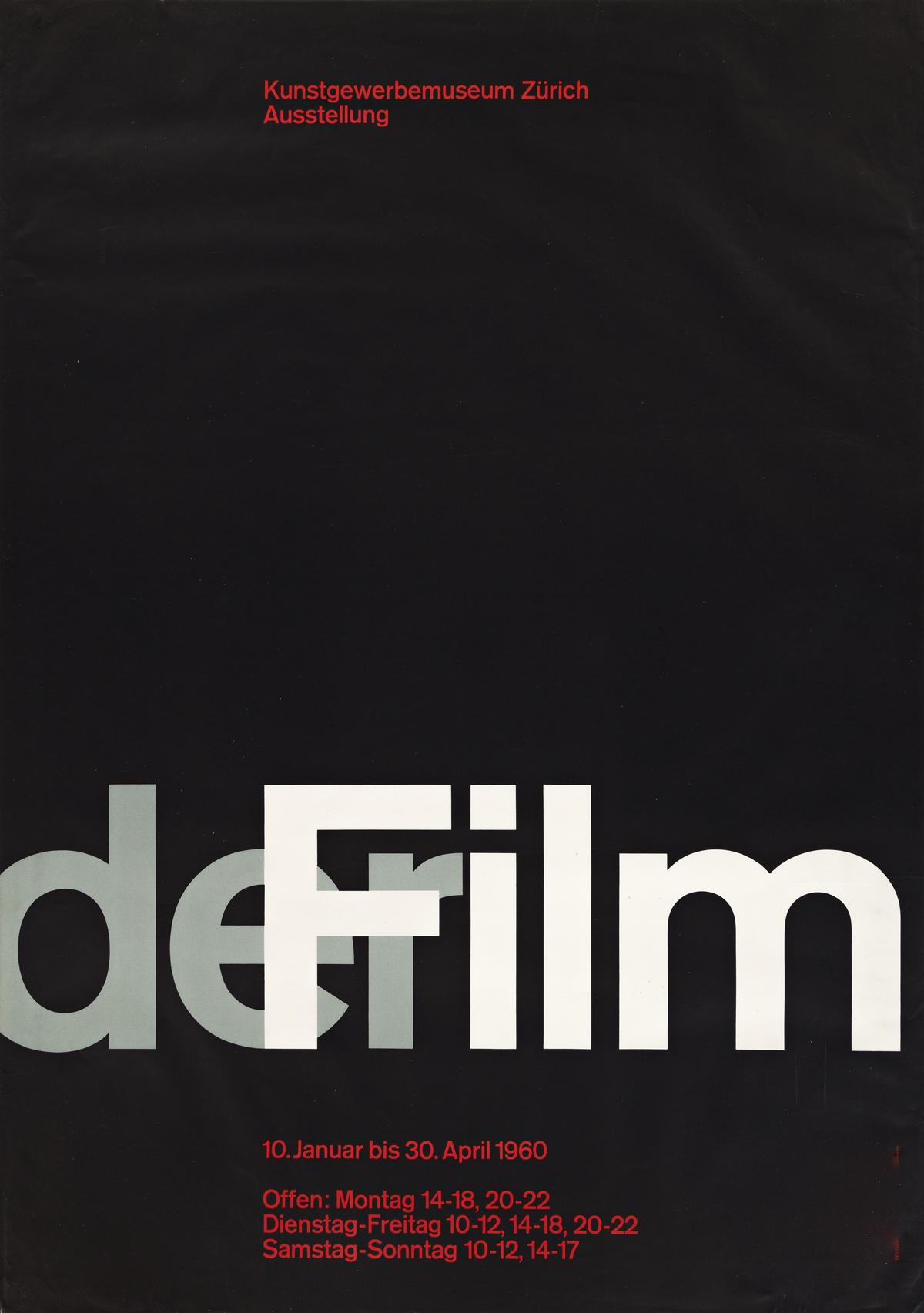 JOSEF MÜLLER-BROCKMANN (1914-1996).  DER FILM / KUNSTGEWERBEMUSEUM ZÜRICH. 1960. 50½x35½ inches, 128¼x90¼ cm. Wolfsberg, Zurich.