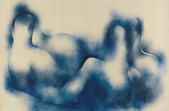 NORMAN LEWIS (1909 - 1979) Untitled (Blue Waves).