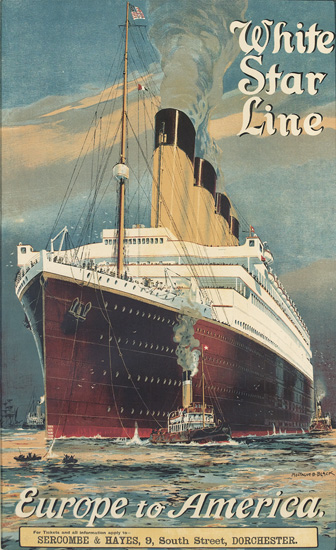 MONTAGUE BIRREL BLACK (1894-?). WHITE STAR LINE / EUROPE TO AMERICA [OLYMPIC.] Circa 1925. 38x23 inches, 98x60 cm.