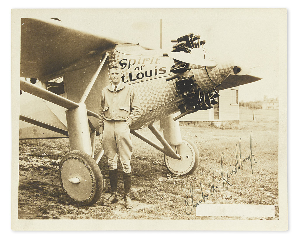 (AVIATORS.) LINDBERGH, CHARLES A. Photograph Signed, C.A. Lindbergh,