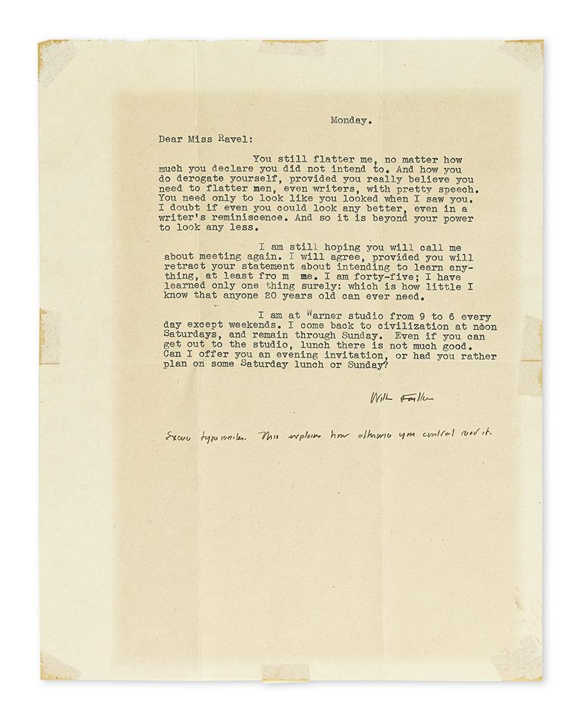 FAULKNER, WILLIAM. Two Typed Letters Signed, each to Elaine Ravel (Dear Miss Ravel).