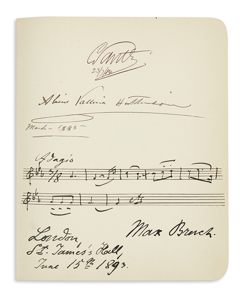 (ALBUM.) Autograph album containing over 60 items, mostly Autograph Musical Quotations Signed, by 19th-century composers, performers an