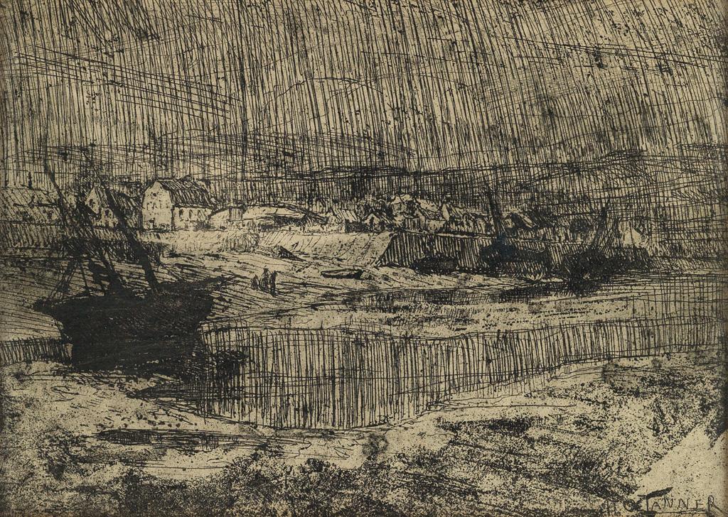 HENRY-OSSAWA-TANNER-(1859---1937)-Fishing-Boats-at-Shore-Bri