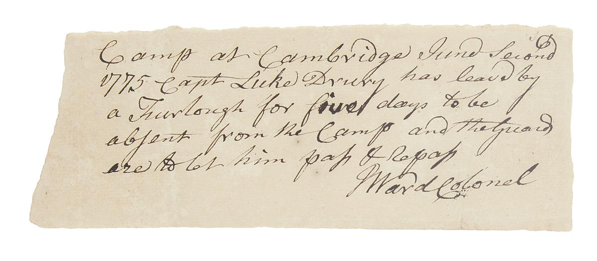 (AMERICAN REVOLUTION--1775.) Ward, Jonathan. Furlough pass issued to a Minuteman at Cambridge two weeks before Bunker Hill.