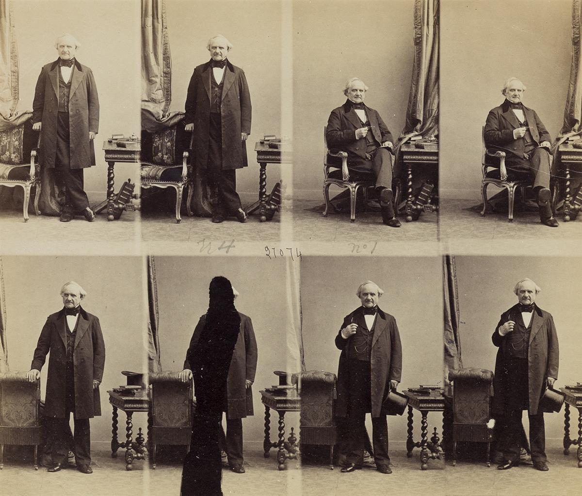 ANDRE-ADOLPHE-EUGENE-DISDERI-(1819-1889)-An-uncut-sheet-of-c