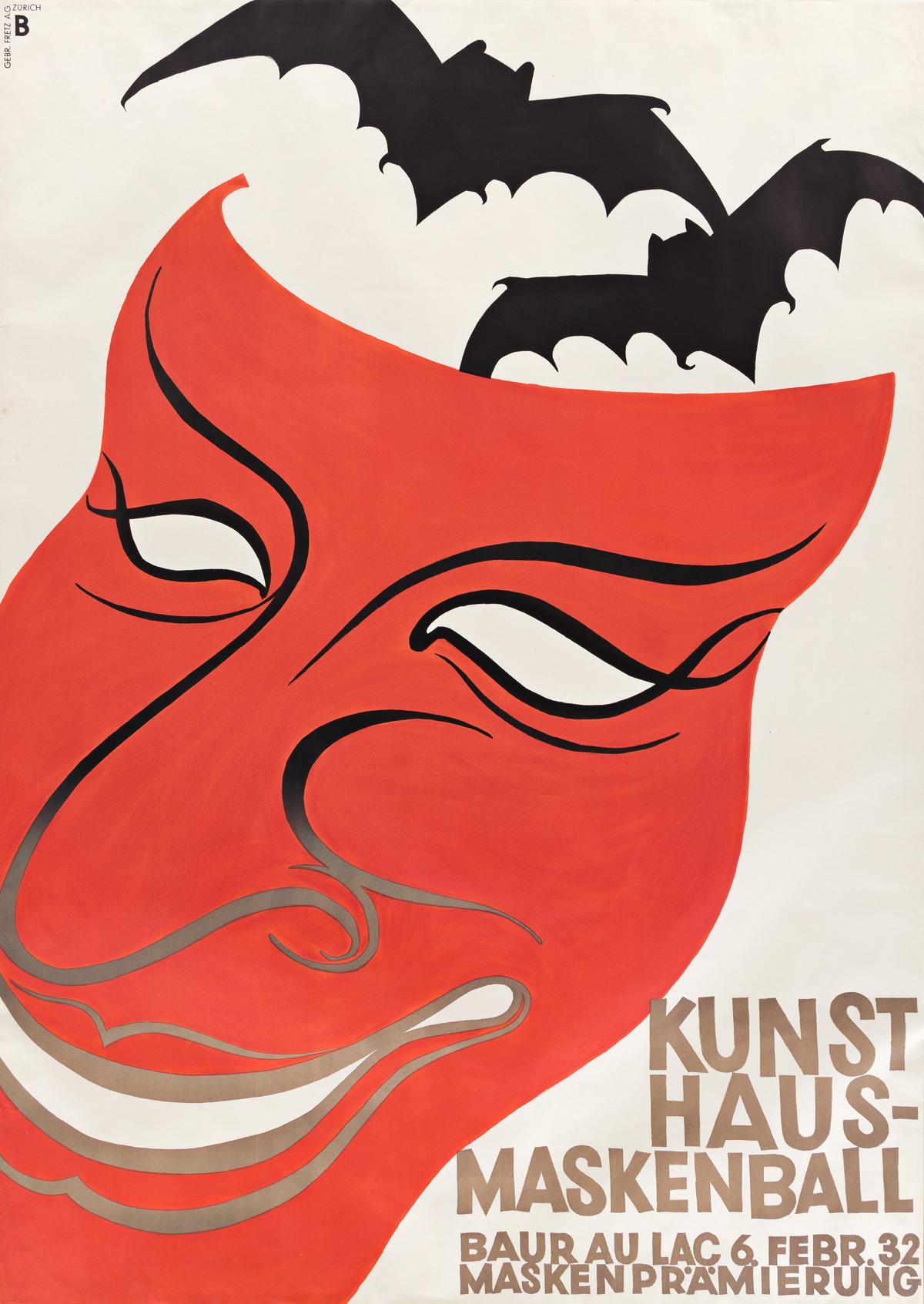 OTTO BAUMBERGER (1889-1961).  KUNSTHAUS - MASKENBALL / BAUR AU LAC. 1932. 50x35½ inches, 127x90¼ cm. Gebr. Fretz, Zurich.
