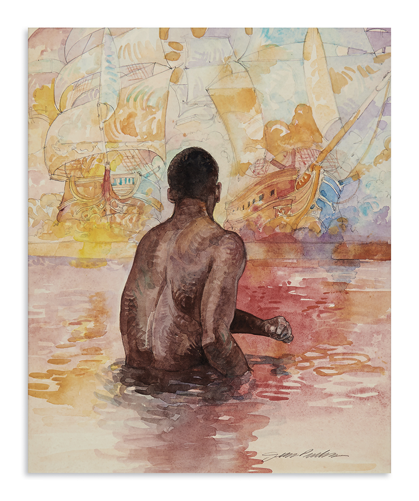 (ART.) Pinkney, Jerry; artist. Original study for the cover of the award-winning childrens book, The Old African.
