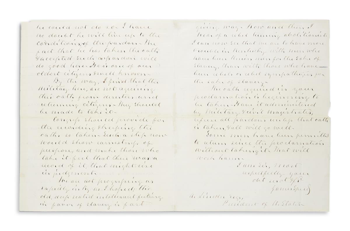 (LINCOLN, ABRAHAM.) SPEED, JAMES. Autograph Letter Signed, as KY Senator, to President Abraham Lincoln,