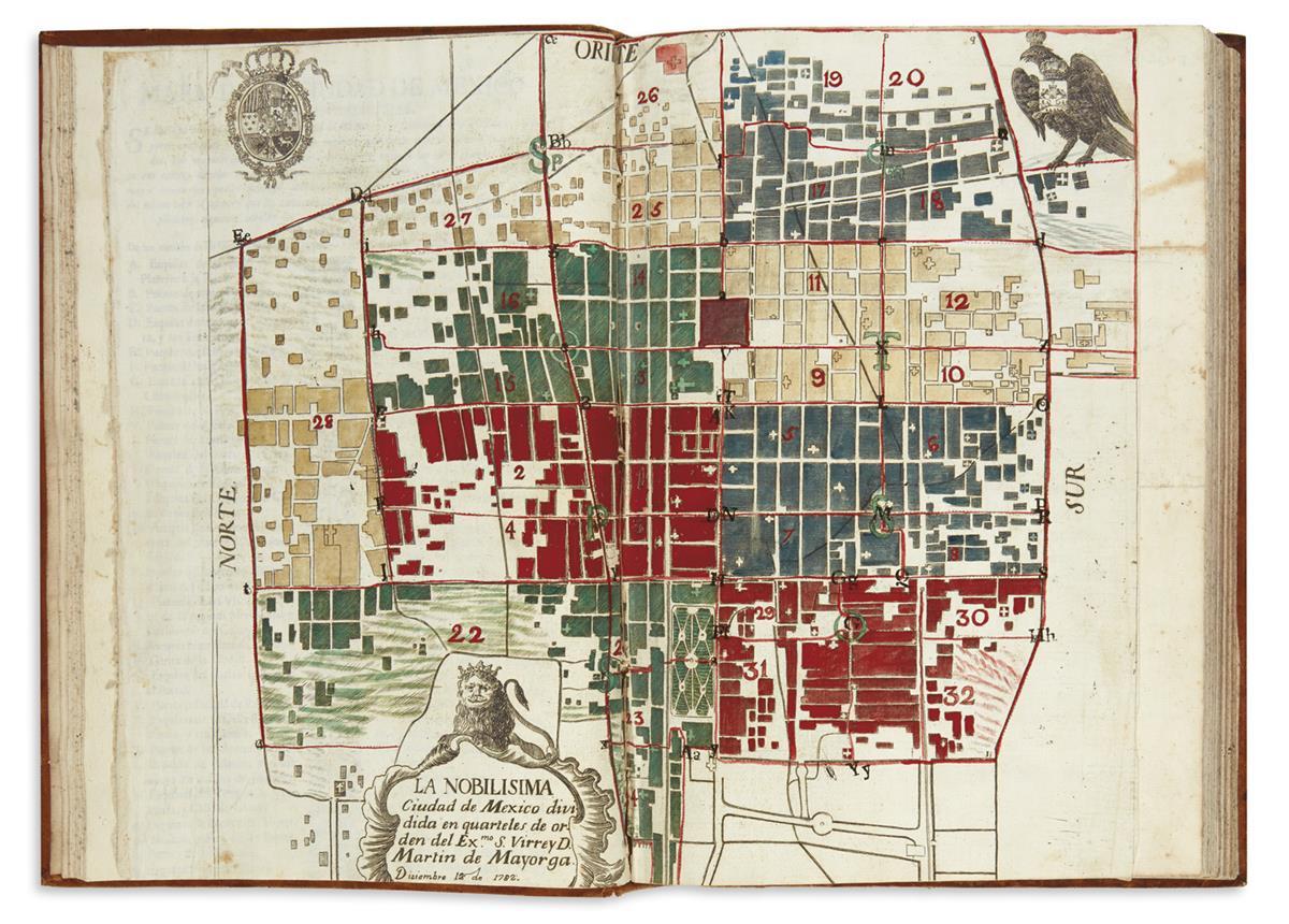 (MEXICAN IMPRINTS--1782.) Mayorga, Martín de. Ordenanza de la division de la nobilisima ciudad de Mexico en quarteles,