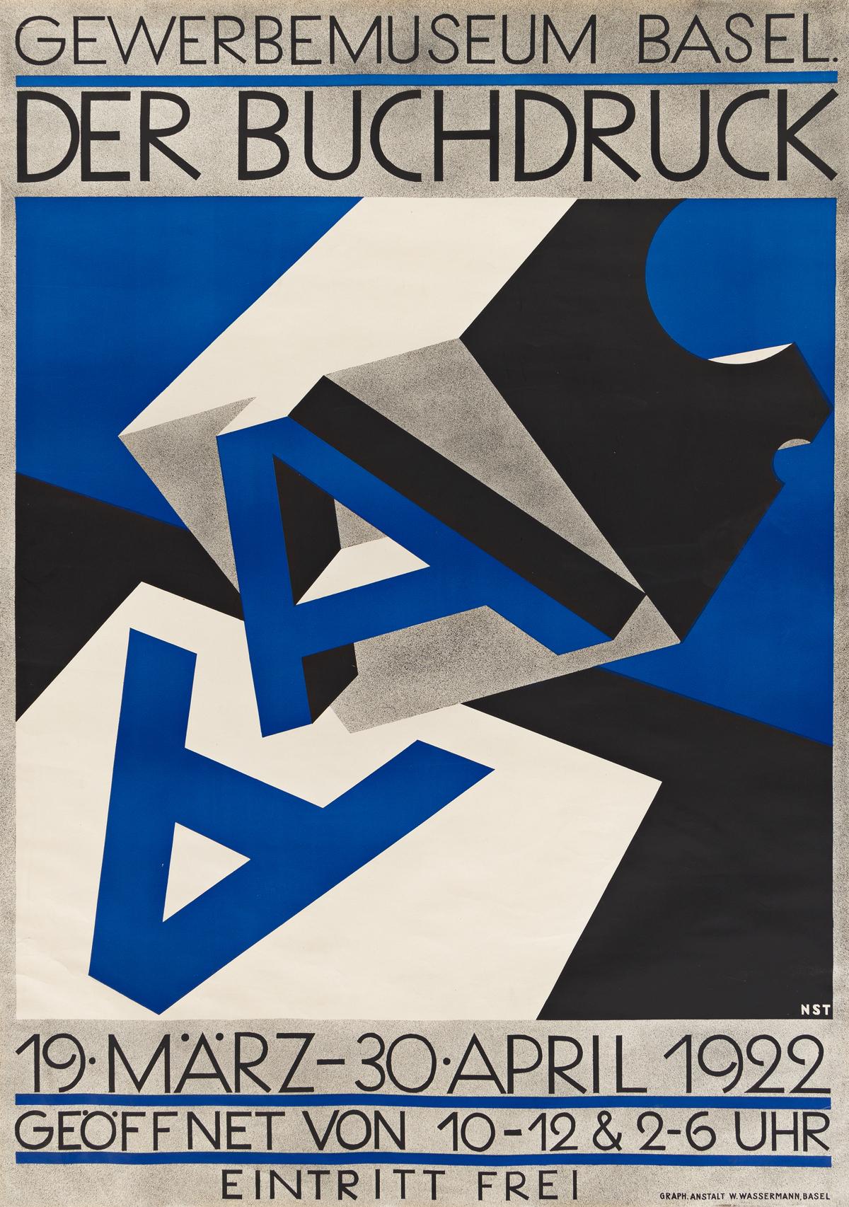 NIKLAUS STOECKLIN (1896-1982).  DER BUCHDRUCK. 1922. 50x35¼ inches, 127x89½ cm. W. Wassermann, Basel.