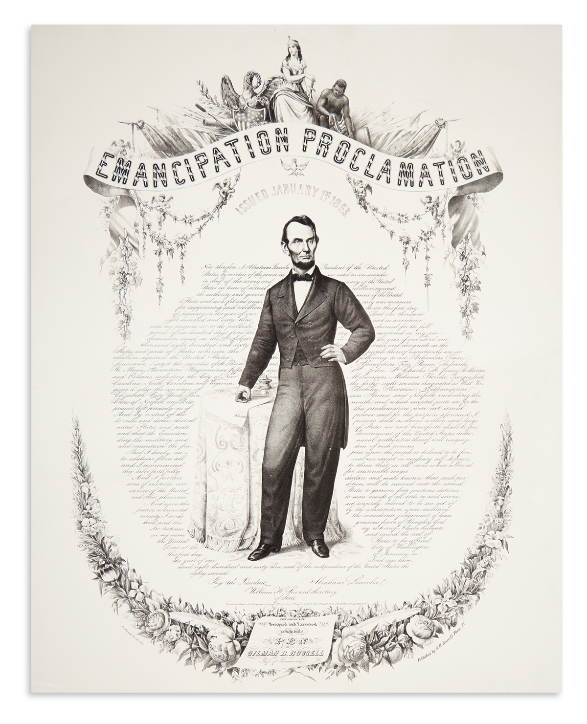 (SLAVERY AND ABOLITION.) Lincoln, Abraham. Emancipation Proclamation Issued January 1st 1863.