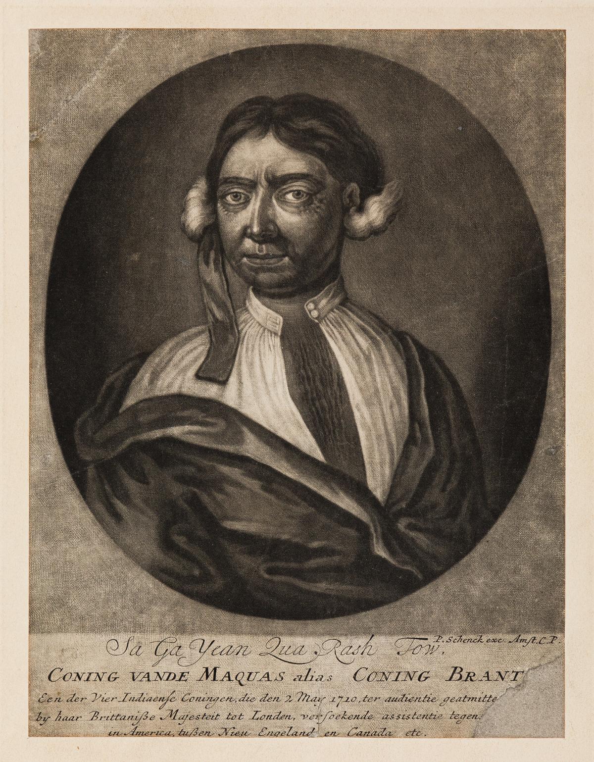(AMERICAN-INDIANS)-Pieter-Schenck-engraver;-after-Faber-Sa-Ga-Yean-Qua-Rash-Tow-Coning-Vande-Maquas-alias-Coning-Brant