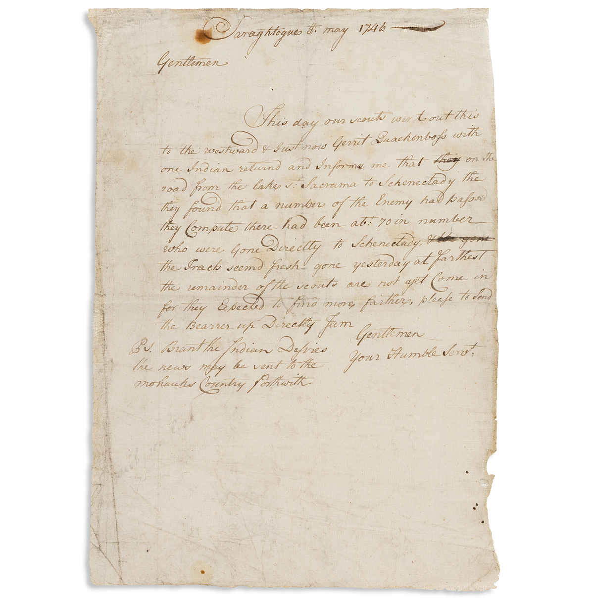 (COLONIAL WARS.) Letter describing Indian scouts and raiding parties on the New York frontier in King Georges War.