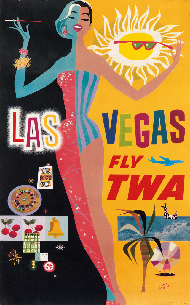 DAVID-KLEIN-(1918-2005)-FLY-TWA-Two-small-format-posters-Cir