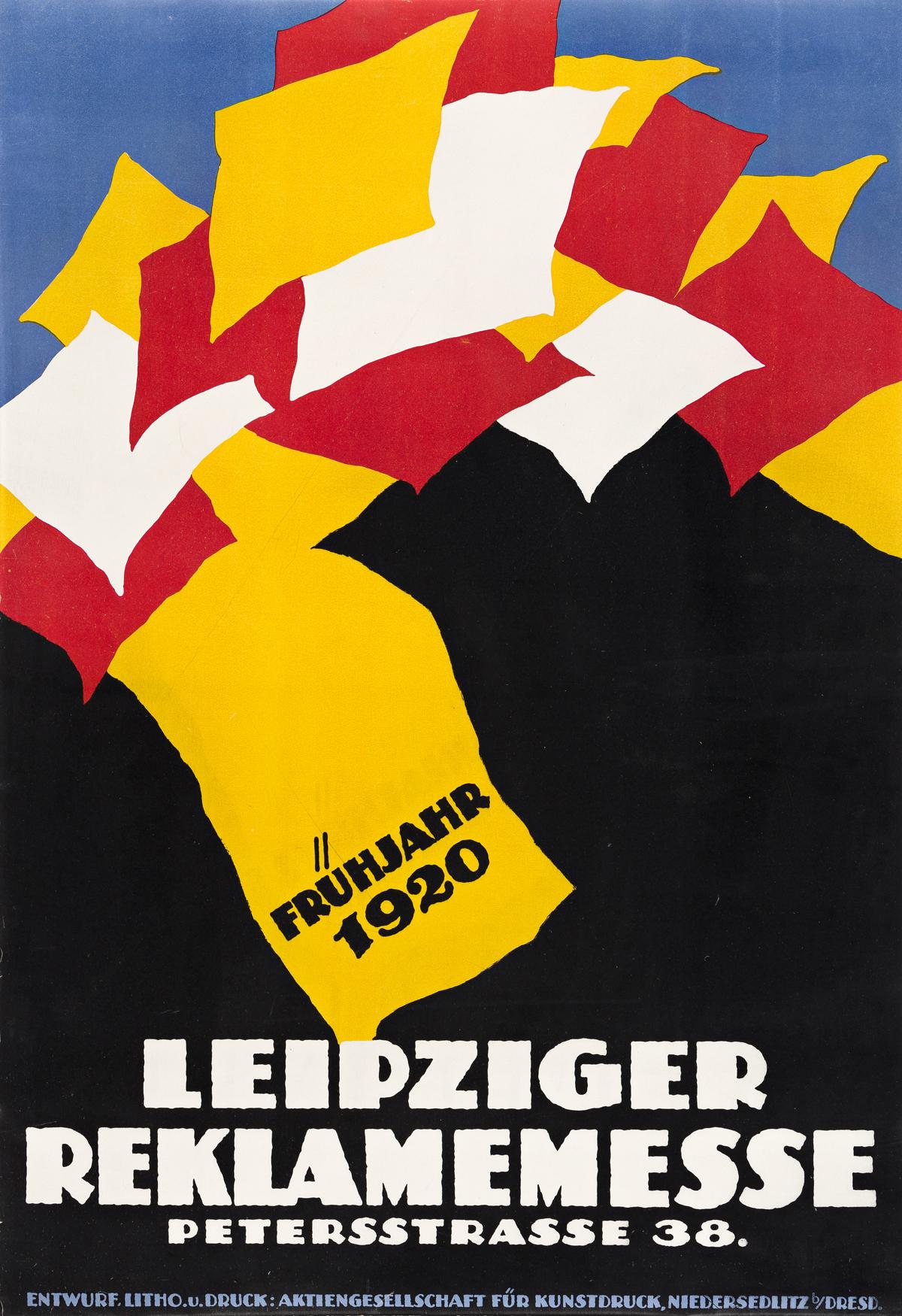 DESIGNER UNKNOWN.  LEIPZIGER REKLAMEMESSE. 1920. 29¾x20½ inches, 75½x52 cm. Niedersedlitz, Dresden.