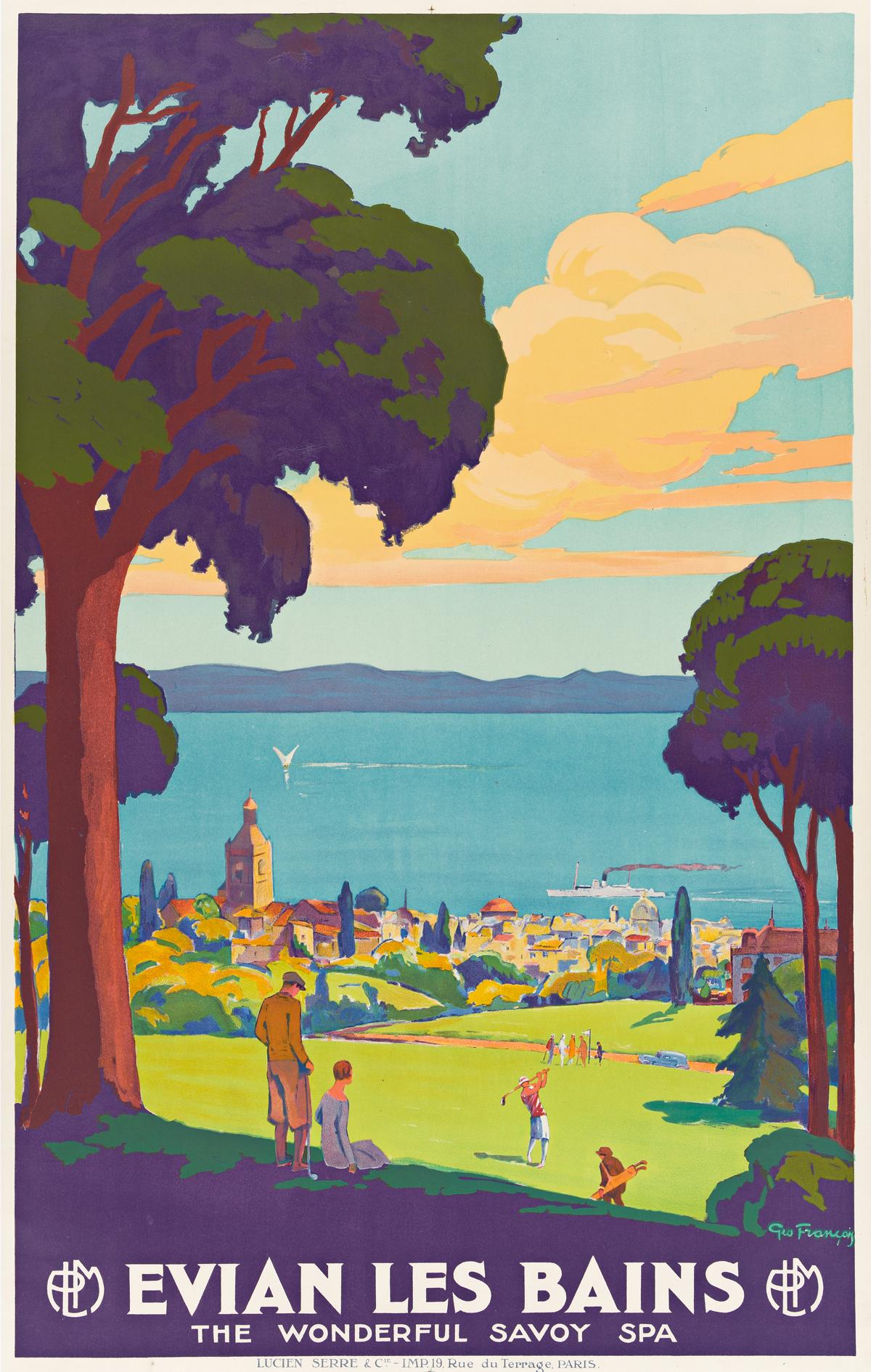 GÉO FRANÇOIS (1880-1968).  EVIAN LES BAINS / THE WONDERFUL SAVOY SPA. Circa 1930. 39¾x25 inches, 101x63½ cm. Lucien Serre & Cie., Paris