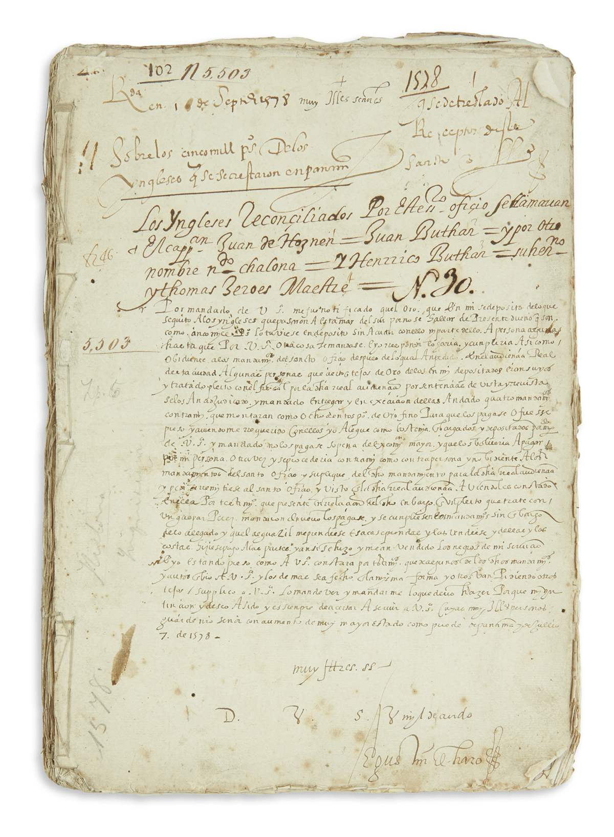 (PIRATES.) Extensive file on efforts to recover the treasure looted by English privateer John Oxenham in Panama.