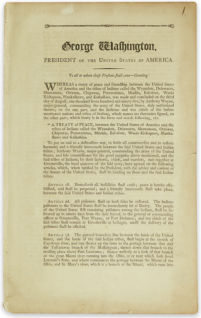 (AMERICAN INDIANS.) Washington, George. Official printing of the Treaty of Greenville which ended the Northwest Indian War.