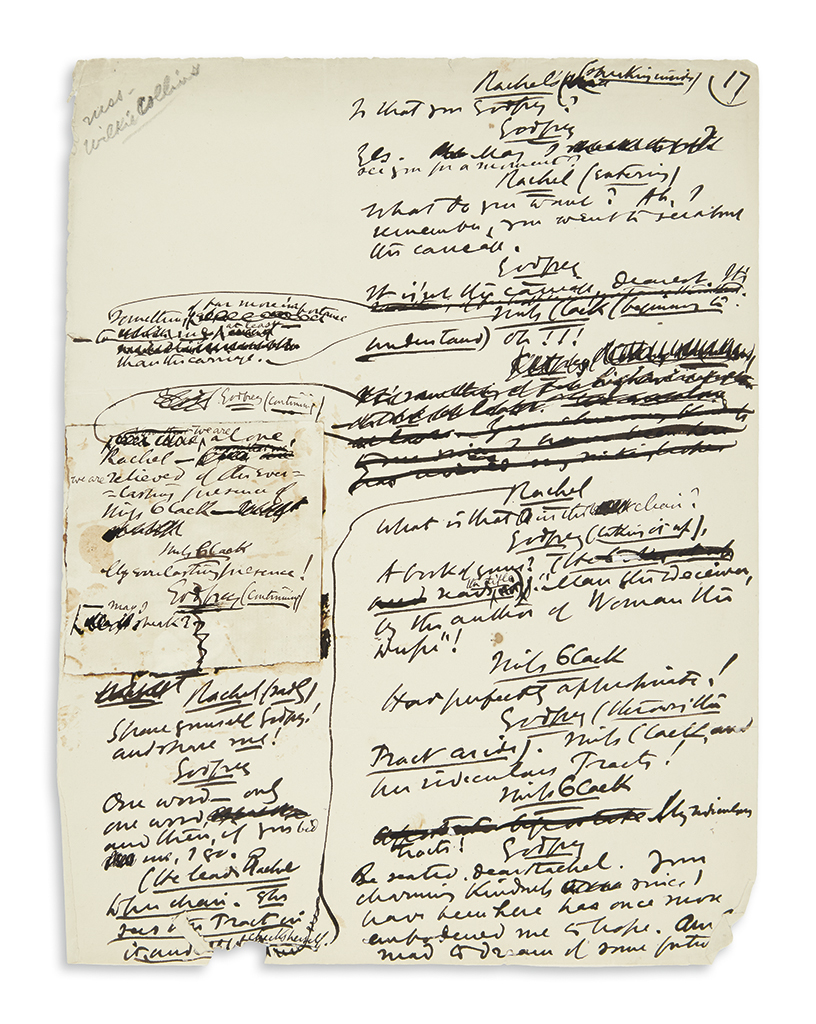 COLLINS, WILKIE. Autograph Manuscript, unsigned, fragment from the working draft of his play, The Moonstone,