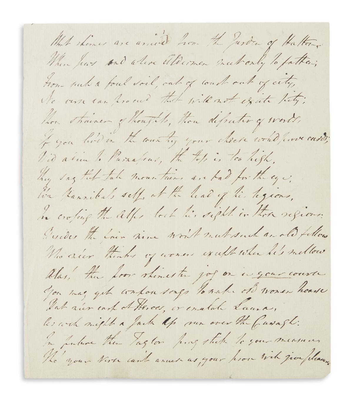 TARLETON, BANASTRE. Fragment of an Autograph Letter Signed, B.T., to Juan[?] (lacking salutation),