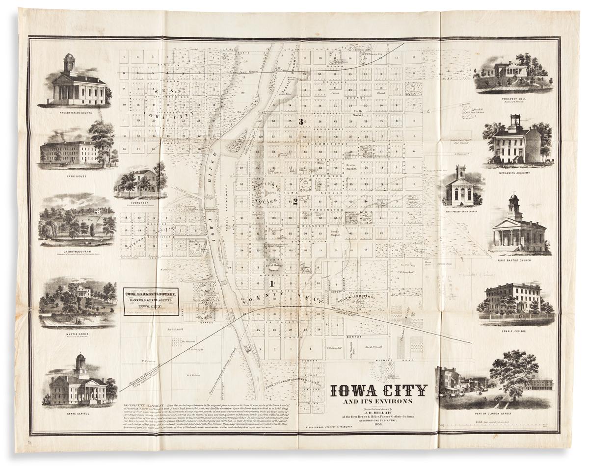 (IOWA.) J.H. Millar; and G.H. Yewel. Iowa City and its Environs.