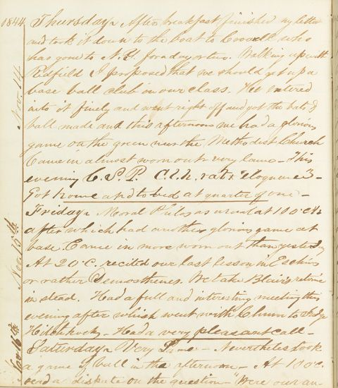 (YALE UNIVERSITY.) Brinsmade, James B. The manuscript diary of a member of the class of 1845.