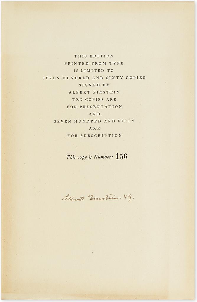 EINSTEIN, ALBERT. Albert Einstein: Philosopher-Scientist, ed. Paul A. Schilpp. Signed and dated on the limitation page, Albert Einstei