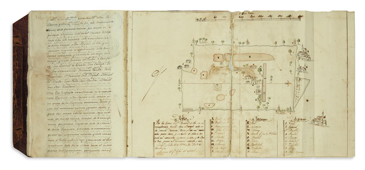 (MEXICAN MANUSCRIPTS.) Volume of Maya litigation over hacienda land in Campeche, illustrated with 4 maps.