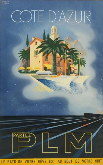 ROLAND-HUGON-(1911-)-COTE-DAZUR--PLM-1937-28x42-inches-71x10