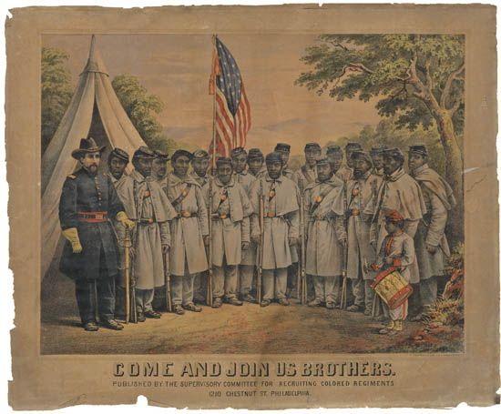 (MILITARY--CIVIL WAR.) Come Join Us Brothers, Published by the Supervisory Committee for Recruiting Colored Regiments, 1210 Chestnut St