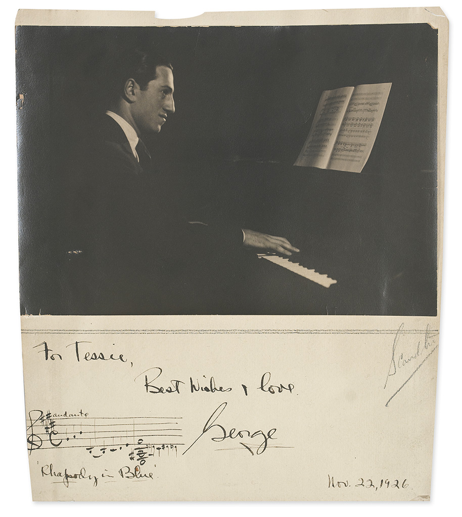 GERSHWIN, GEORGE. Photograph Signed and Inscribed, For Tessie, / Best wishes & love, / George, with an Autograph Musical Quotation fr