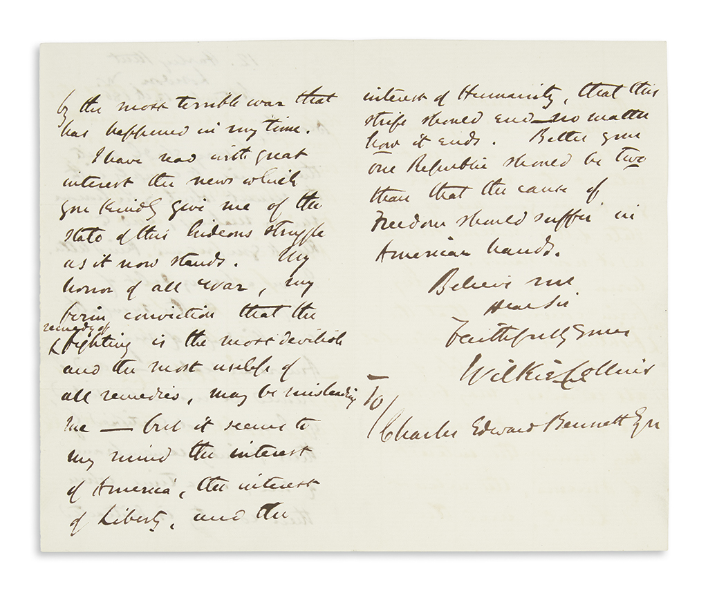 (CIVIL WAR.) COLLINS, WILKIE. Autograph Letter Signed, to Charles Edward Bennett,
